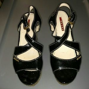 Prada Patent Leather & Cork Wedge Sandals Size 37